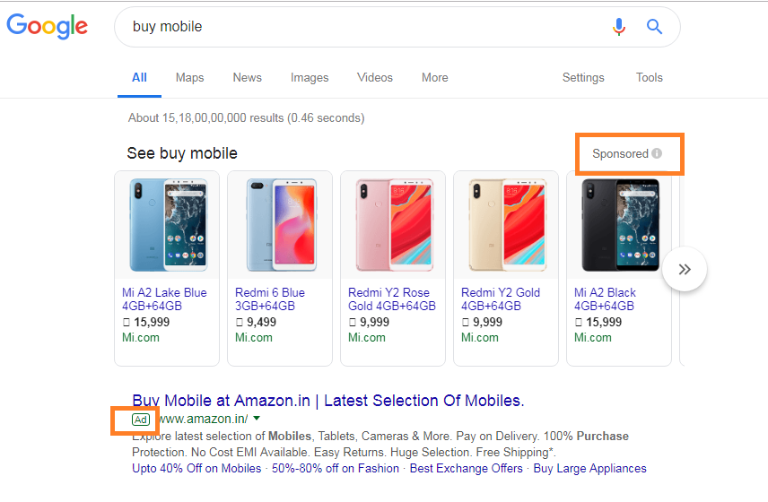 Paid Ad on Google For the Keyword Buy Mobile