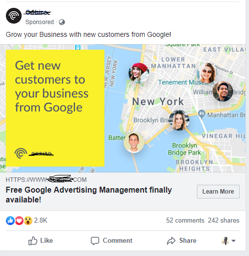 Facebook Paid Ad Example