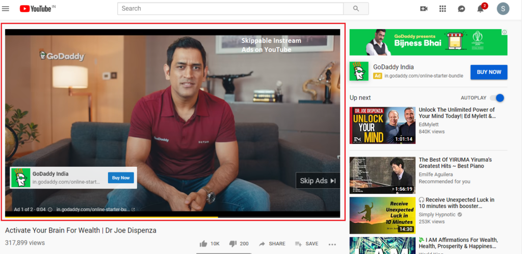 Skippable Instream Ads on YouTube